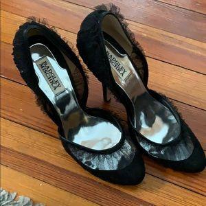 Badgley Mischka Black Tulle Heels